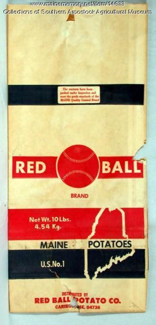 Red Ball Brand potato bag, Caribou, c. 1970