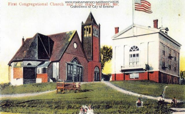 First Congregational Church, City Hall, Brewer, ca. 1910