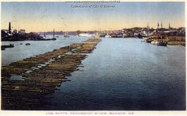 Log Raft on the Penobscot River, ca. 1910
