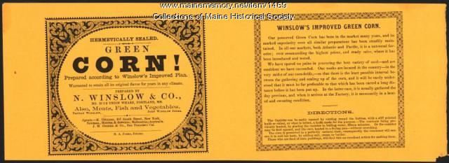 Winslow corn label, Portland, ca.1880