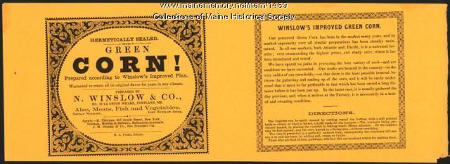 Winslow corn label, Portland, ca.1880
