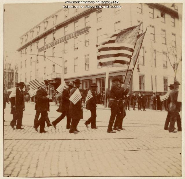 Parade through Monument Square in Portland, 1898