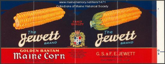 Jewett corn label, Norridgewock, ca. 1920