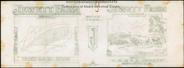 Jewett Farm corn label sketch, Norridgewock, 1916