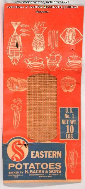 Eastern Potatoes bag, Monticello, c. 1960