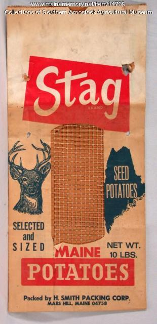 Stag Brand potato bag, Mars Hill, c. 1970
