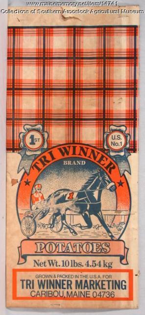 Tri Winner Brand potato bag, Caribou, c. 1960