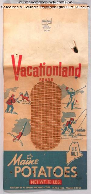 Vacationland brand potato bag, c. 1950