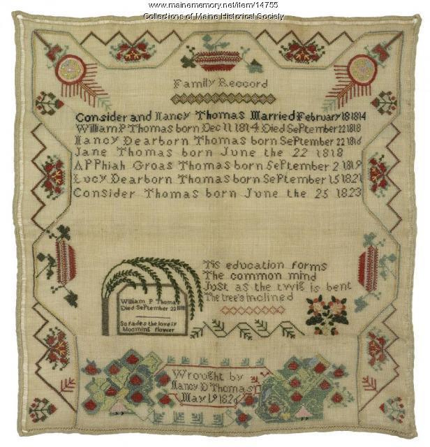 Thomas Family record, Brunswick, 1826