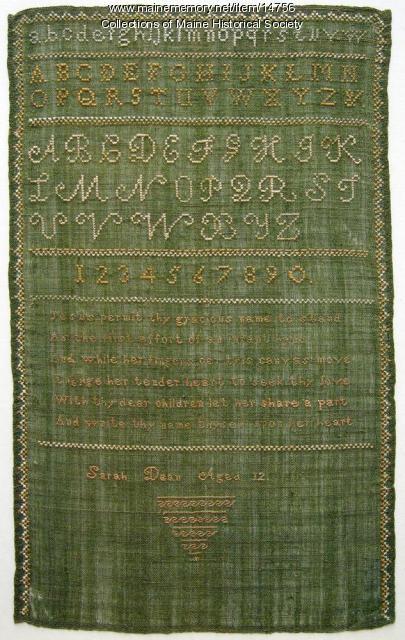 Sarah Dean sampler, Saco, ca. 1800