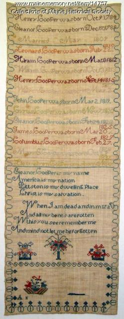 Genealogy of the Cooper family sampler, ca. 1832