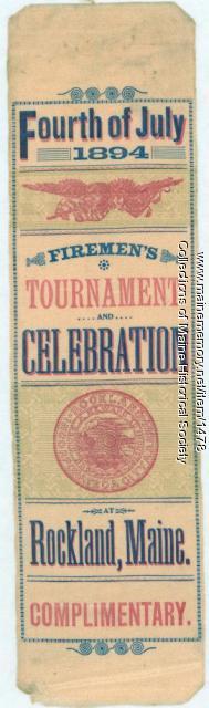 Fireman's tournament badge, Rockland, 1894