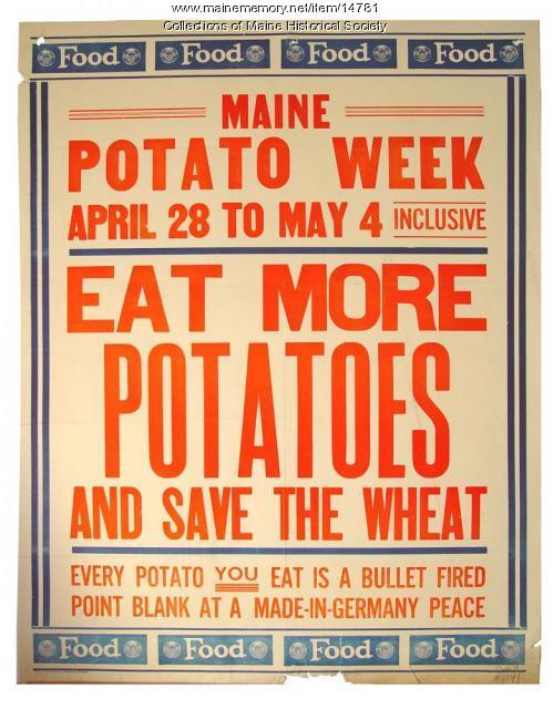 Maine Potato Week World War 1 poster, 1918