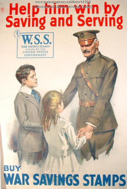 Help him win by saving and serving, World War 1 poster, c. 1918