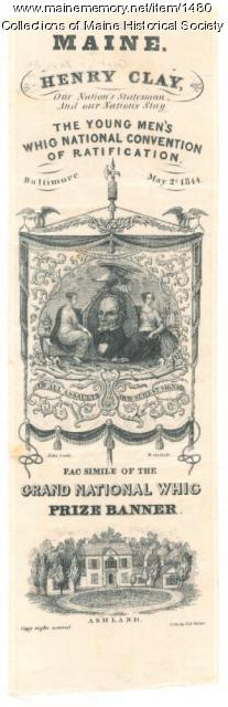 Young men's Whig national convention of ratification badge, 1844