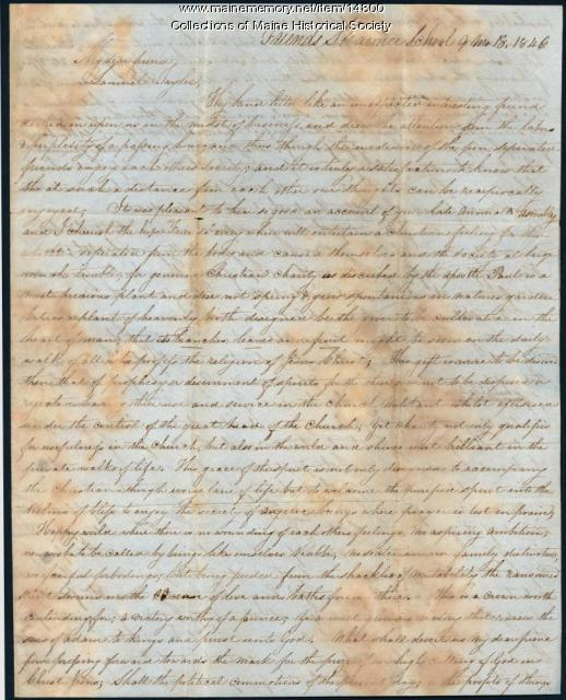 Letter to Samuel Taylor from Thomas Wills, 1846