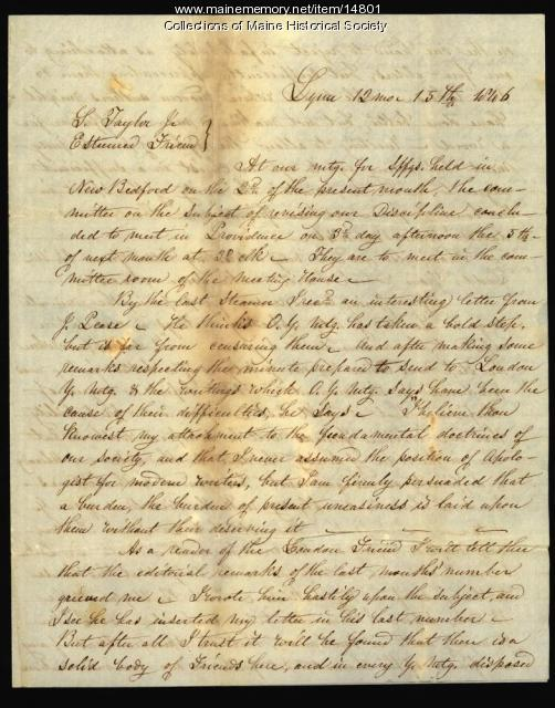 Letter to Samuel Taylor concerning Society of Friends business