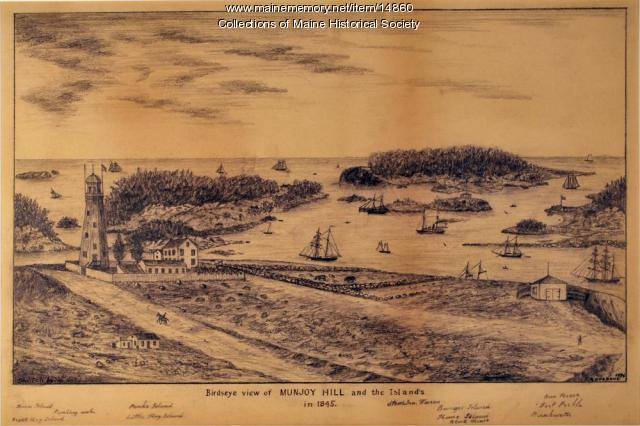 Bird's eye view of Munjoy Hill and the islands in 1845