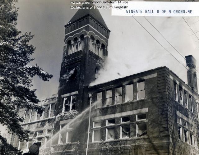 Fire at Wingate Hall, Orono, 1943