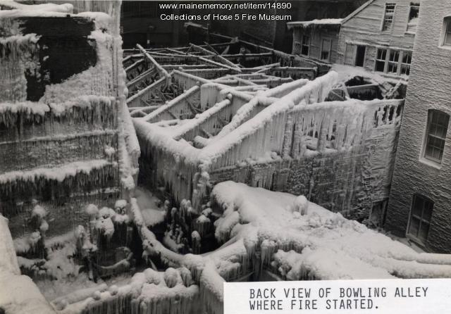 York Street fire site, Bangor, 1945