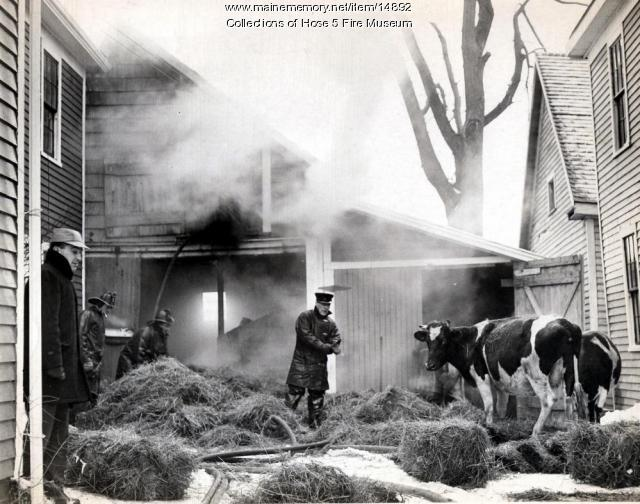 Fire in Bangor barn, 1964