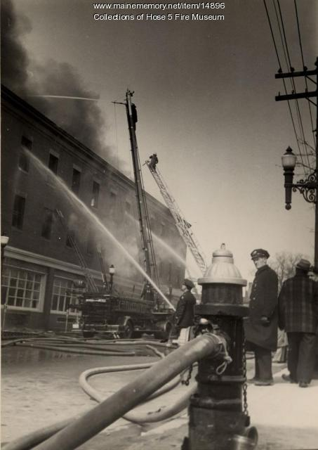 Bangor Fire Department at fire, Apr. 14, 1950