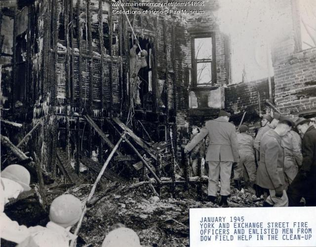 York Street fire clean-up, Bangor, 1945