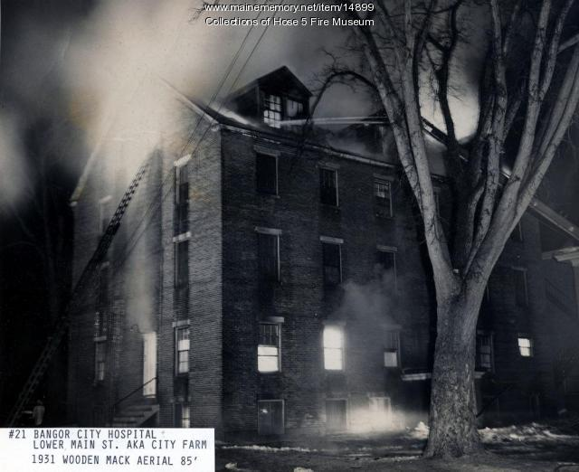 Bangor City Hospital fire, ca. 1933