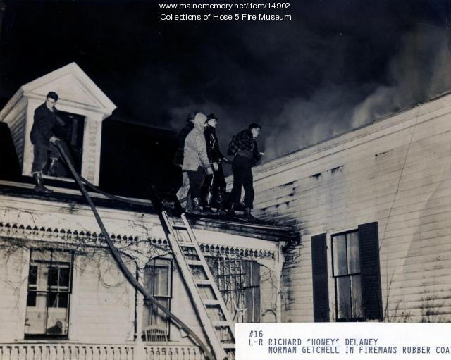 Fighting a fire in Bangor, ca. 1945