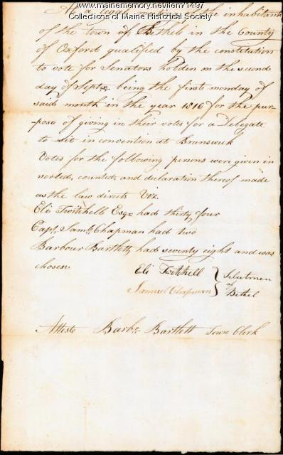 Election record for Bethel, September 2, 1816