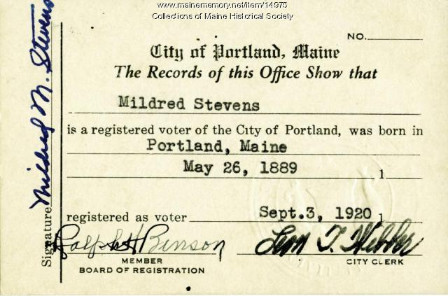 Portland Network - 1920 Voter Card Registration Maine Memory