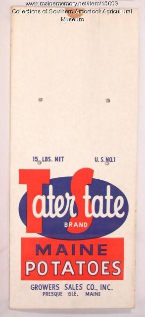 Tater State Brand potato bag, Presque Isle, c. 1960