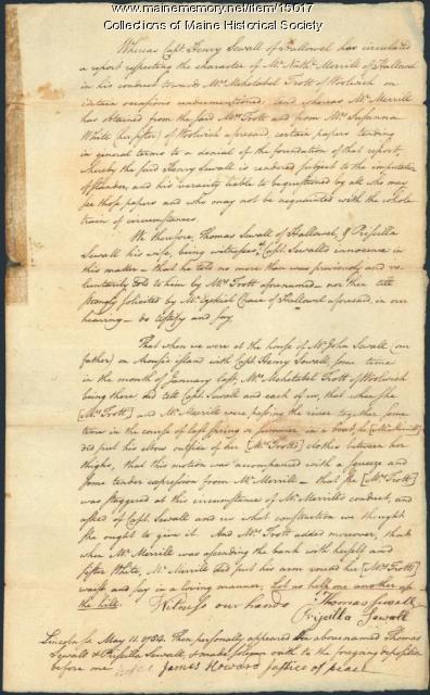 Affidavit concerning Henry Sewall, 1784