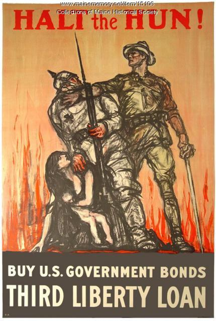 Halt the Hun, World War 1 poster, 1918