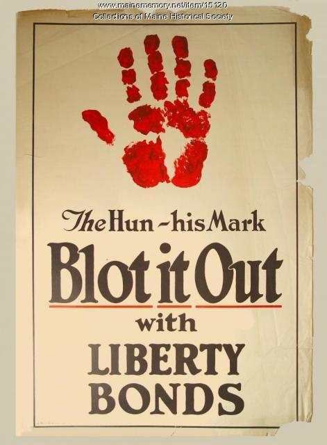 """The Hun-His mark-Blot it out with Liberty Bonds"" World War I poster, ca. 1918"