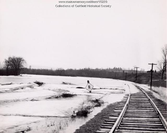 Spring flooding on the Bangor and Aroostook Railroad tracks, c. 1955