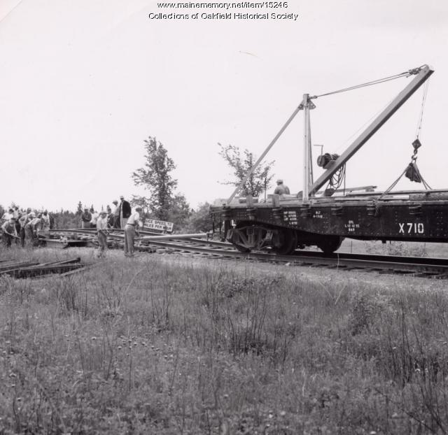 Repairing Bangor and Aroostook Railroad Roadbed, Littleton, 1956