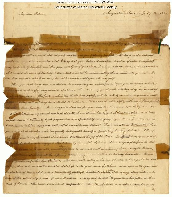 Henry Sewall letter to son concerning slavery, 1821