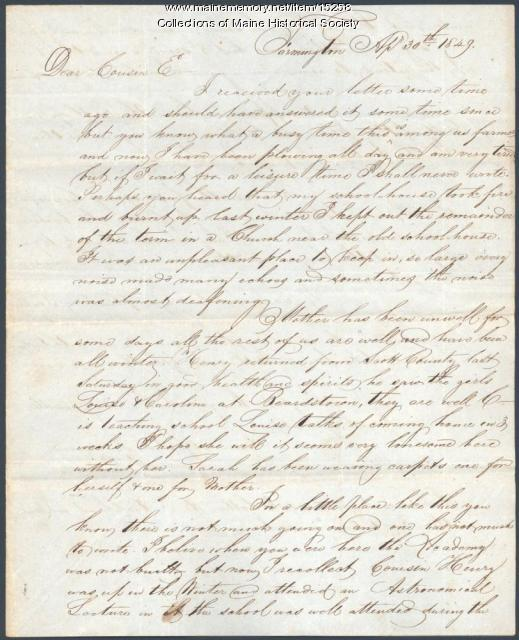 Ebeneezer Dutch letter to cousin, 1849
