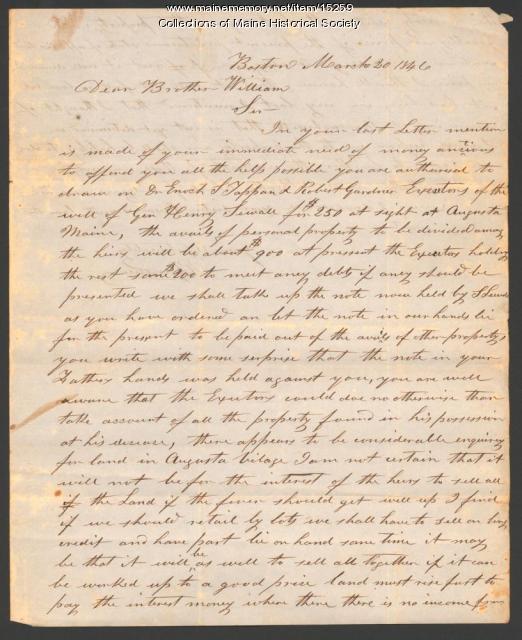Letter concerning estate of Henry Sewall, 1846