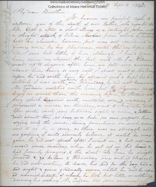 Letter concerning death of Henry Sewall, 1845