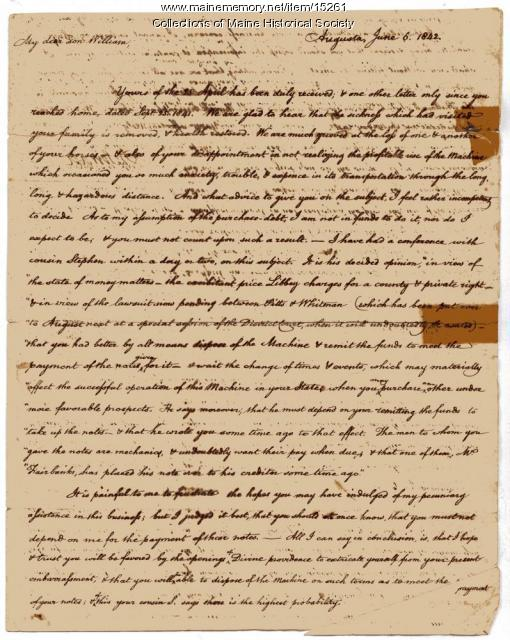 Letter from Henry Sewall to son William, 1842