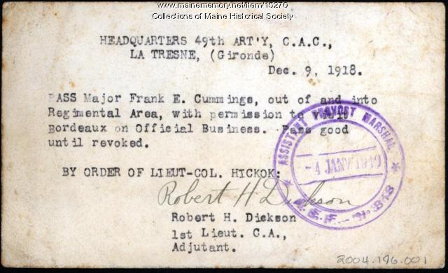 Military pass, 1918