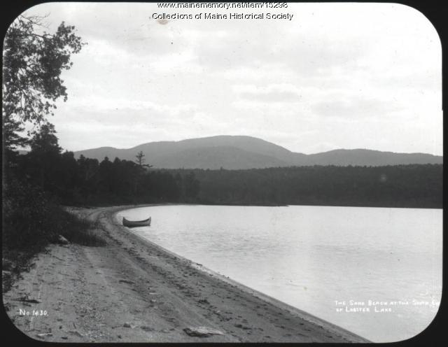 Sand beach, Lobster Lake, ca. 1900