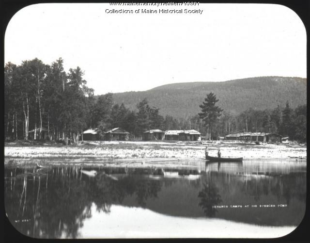 Gerards Camps at Big Spencer Pond, ca. 1900