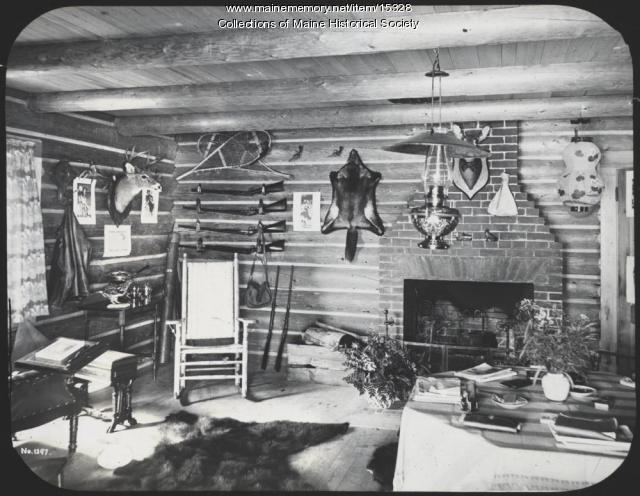 Log cabin, Maine Woods, ca. 1900