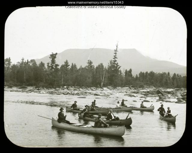 Canoes, Maine woods, ca. 1900
