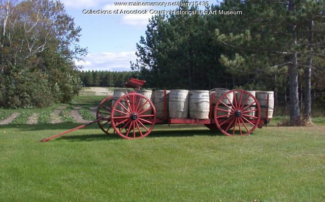 Taber wagon with potato barrels, Caribou