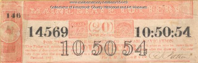Maine lottery ticket, 1831