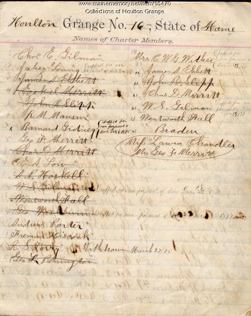 Charter members, Houlton Grange Roll Book, 1874